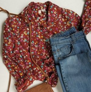 Vintage inspired floral button down